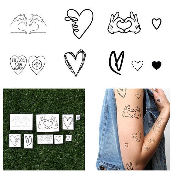 Juego De Corazones Tatuajes Temporales Juego De 9 Etsy