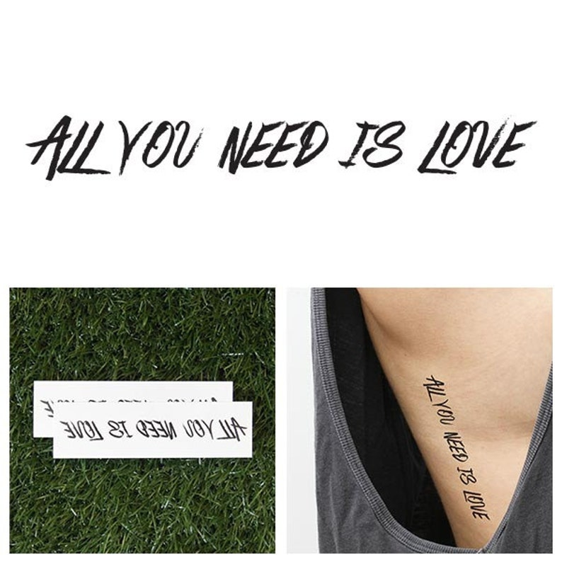 Love Love Love  Temporary Tattoo Set of 2 image 0