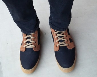 Black jeans shoes brown suede leather handmade Rangkayo sneakers men women ankle boots Preorder