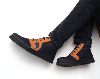 Black jeans shoes brown leather handmade Rangkayo sneakers men women ankle boots Preorder
