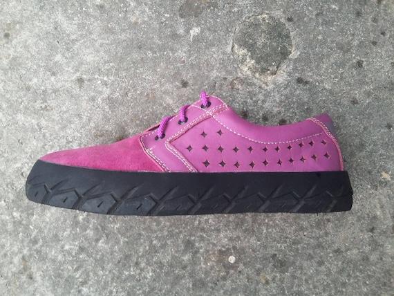buy online eef2b 7d727 pinke Wildleder Schuhe pink Leder EU 40 / US 8.5 wo Sohle aus Motorrad  Autoreifen handgemachte Marapulai Sneakers