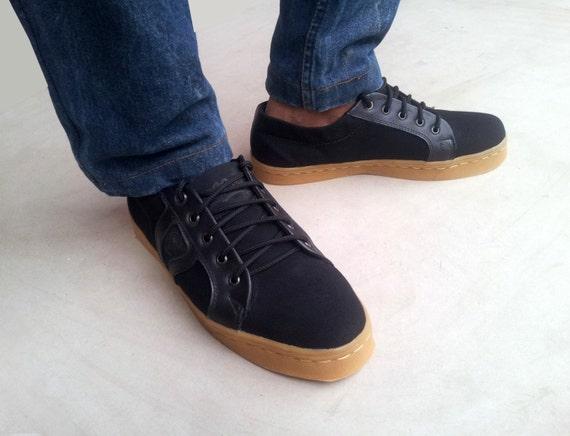 fait fait fait à la main Rangkayo baskets casual précommande unisexes chaussures en cuir noir et toile noire 7617d2