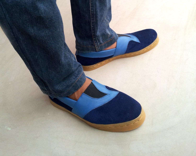 blue canvas Slip on shoes corduroy canvas blue leather handmade Rangkayo sneakers men women unisex bdcded