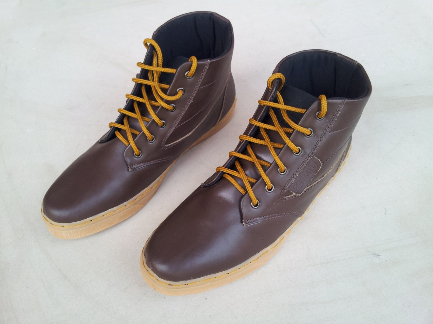 2739d9e3b3a26 dark brown leather shoes handmade Rangkayo casual sneakers ankle boots  Preorder unisex