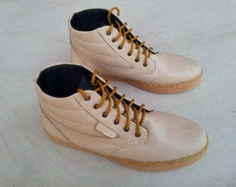 cream leather shoes handmade Rangkayo casual sneakers boots unisex