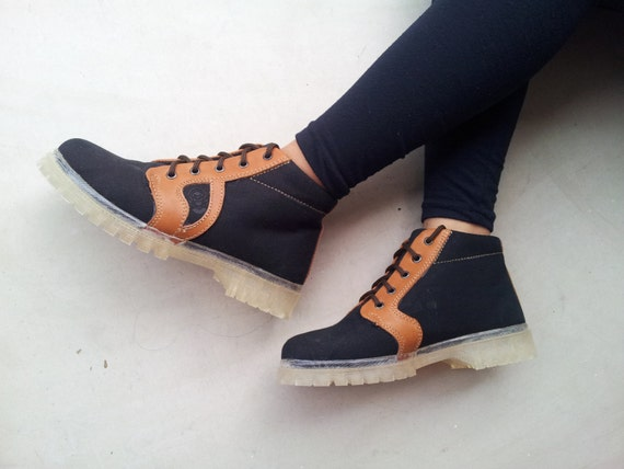 2d1e4b5e4b2bd black canvas brown leather shoes handmade Rangkayo Sneakers women ankle  boots Preorder