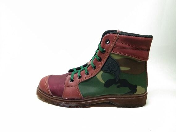 vert armée look parachute chaussures nous 7 femmes EU 38 cuir marron bottines baskets de Rangkayo fait à la main