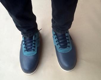 blue leather shoes dark blue handmade Rangkayo casual sneakers Preorder men women
