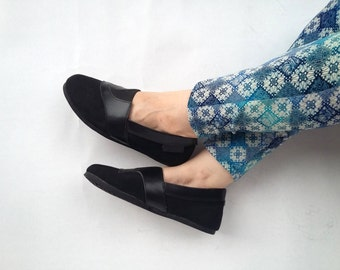 black jeans Slip on shoes black leather canvas handmade Rangkayo sneakers unisex