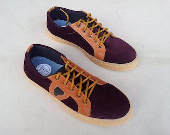 maroon corduray shoes brown natural leather handmade Rangkayo sneakers Preorder unisex