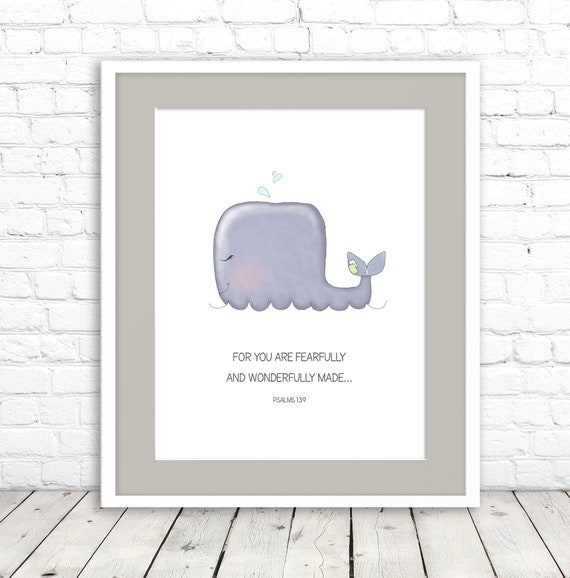 Christian Wall Art Baby Whale Kids Print Wall Decor Baby Etsy