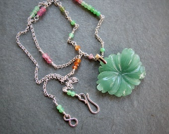 Aventurine Pendant with Chrysoprase Sterling Rosary detail and Sterling Silver chain