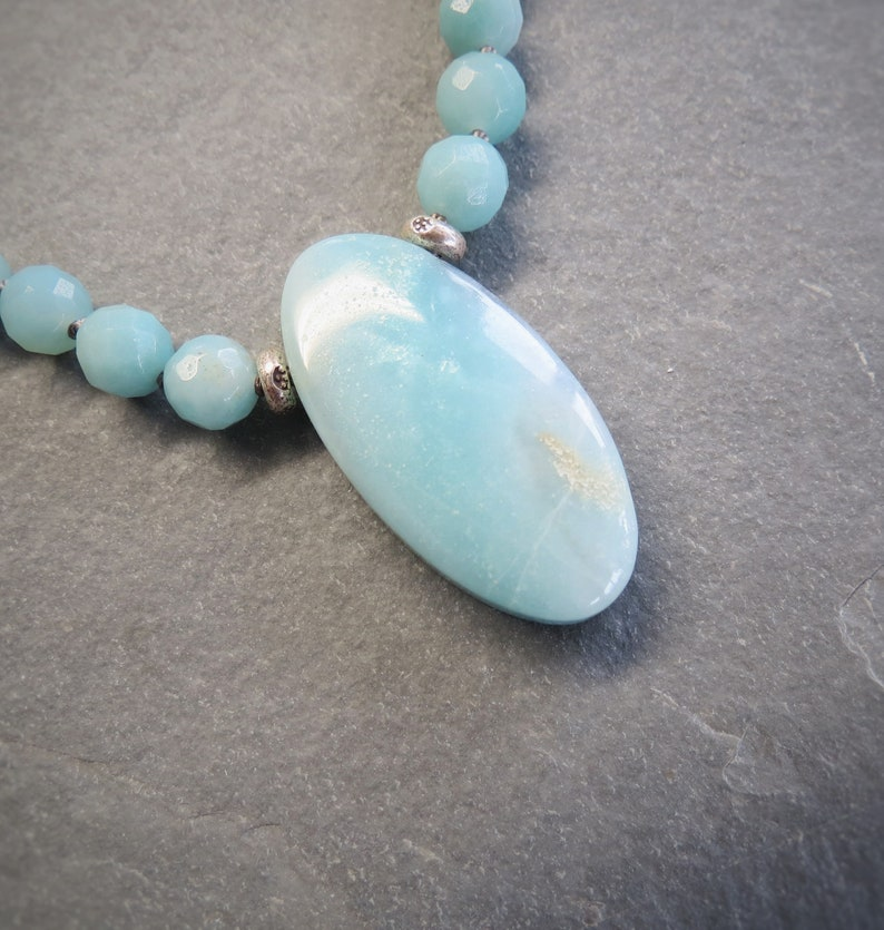 toggle clasp protection natural gemstone Bali AMAZONITE gray Griffin silk hand knotted necklace sterling silver