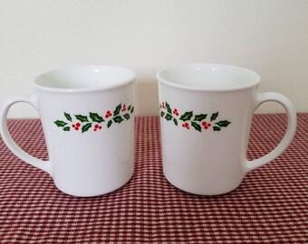 Corning holly mugs | Etsy