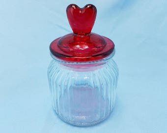 Valentine Red Heart Glass Jar Or Canister With Lid Farm House, Cottage, Kitchen  Storage Or Display, Table Decor, Sweet Heart