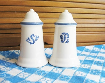 Salt and Pepper Shakers, Pfaltzgraff Blue and Creamy White