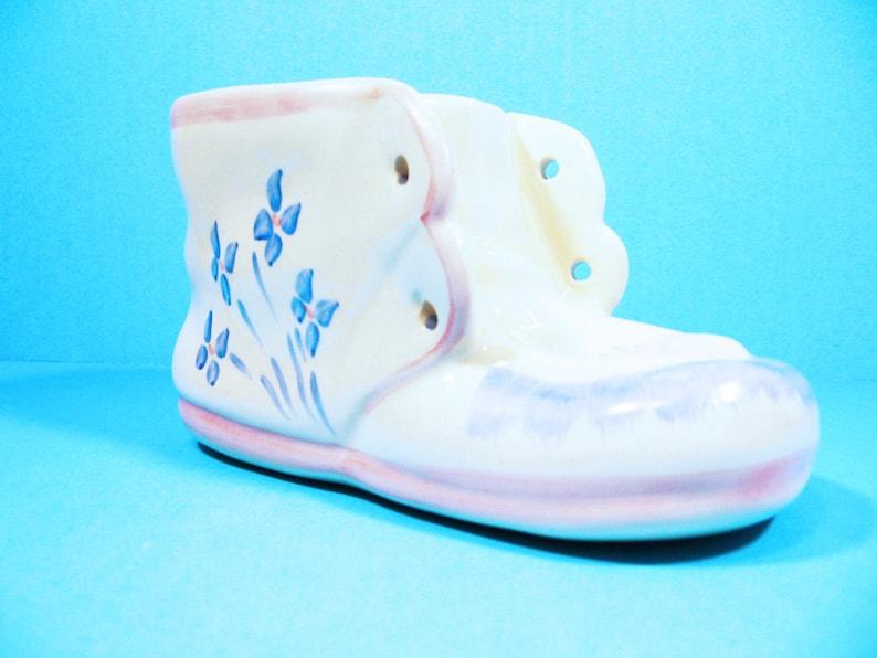 c2459ab49ca13 Baby Shoe Planter Ceramic Blue, Pink and White Vintage Infant, nursery  decor, infant gift, floral vase