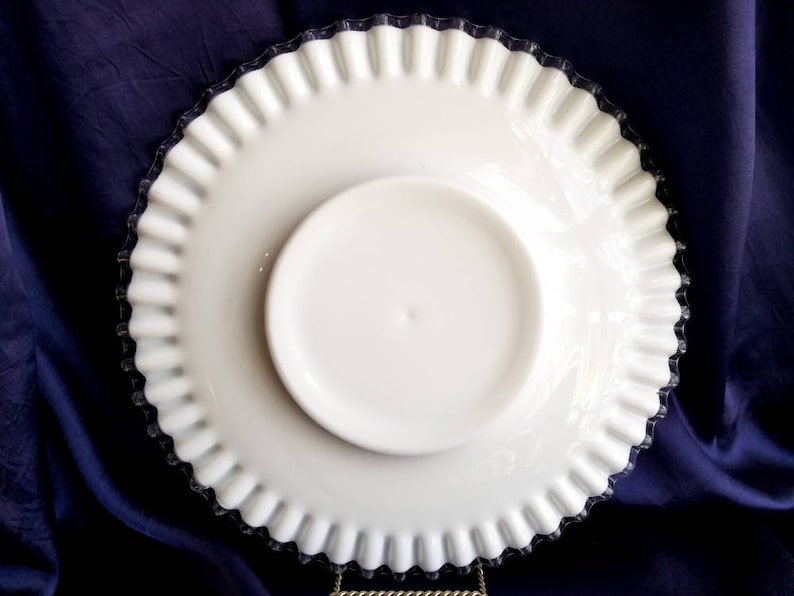 Sandwich Plate Cake Plate Silver Crest by FENTON 13 inches diameter white milk glass gift photo prop Service plate