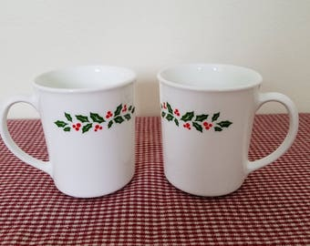 Corning Winter Holly Mugs, 2 (two), Corelle by Corning, replacements, coffee / hot chocolate / Christmas / holiday mugs, photo prop