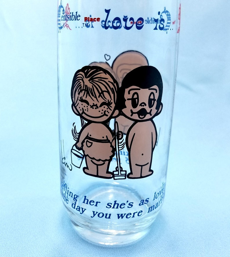 Love Is   Vintage Drinking Glass, 1975 collectible glass, Kim cartoon glass