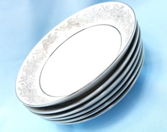 Seyei Set of 6 (SIX)  coupe soup  bowls,  in the Brilliant pattern, Fine China, White with Platinum trim,  7 1/2 inch diameter