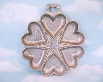 Vintage Cast Aluminum Hearts / Star Gem Pan - Muffin Pan  Cookie / Shortbread Mold