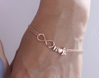 rose gold bracelet. Personalized Infinity Bracelet. Initials Rose Gold Bracelet. rose gold filled chain. Mom,Sister,Wife,Bridesmaid Gift.