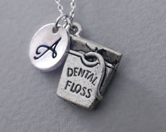 Dental floss necklace. friendship jewelry. personalized Initial necklace. custom letter.monogram necklace.