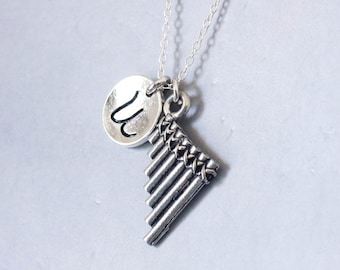 Pan flute Necklace. pan pipes, music charm, musical instrument charm.Personalized Initial Necklace.Sterling Silver necklace. No.211