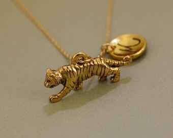 Gold tiger necklace etsy tiger necklace tiger pendant tiger jewelry gold tiger necklace nature jewelry mommy and me necklace jewelry gift mozeypictures Gallery