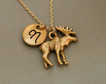 Gold moose charm etsy bull moose necklace pendant gold bull charm gold moose charm gold bull moose charm necklace animal charm aloadofball Images
