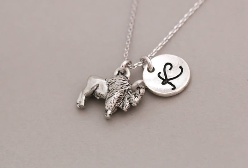 friendship jewelry personalized Initial necklace Buffalo necklace custom letter.monogram necklace. silver charm necklace