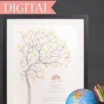 DIGITAL Fingerprint tree, teacher appreciation gift, classroom gift, graduation, teachers thank you, gift from class, teachers memento, diy