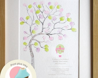 Birthday Girl Gift 1 Year Old Fingerprint Tree Guest Book Alternative Baby Room Decor Custom A4 Print INCLUDING INKS