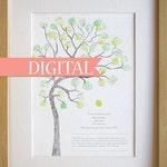 DIGITAL teachers gift, thankyou fingerprint tree classroom gift, thank you card, graduation gift, Art print Digital download, print at home.