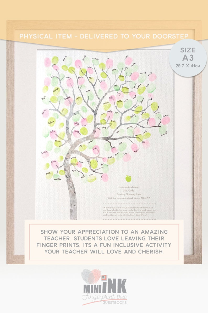 fingerprint tree diy, graduation gift for teacher thank you card, end of  year gift, teacher appreciation, teachers memento LARGE A3