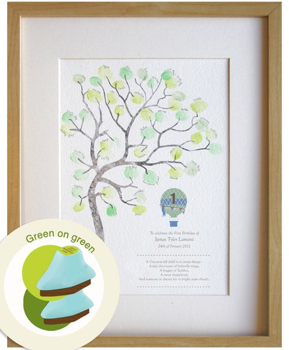 Boy Birthday Gift 1 Year Old Fingerprint Tree Diy Baby Room