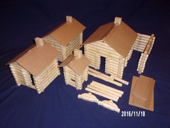 Lincoln Logs, handmade, 240 pieces, in canvas tote bag