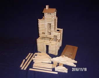 Handmade 'Lincoln Logs' 206 piece set (no container)