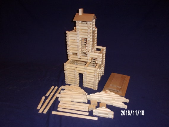 Lincoln Logs, handmade, 210 pieces, in handy tote bag