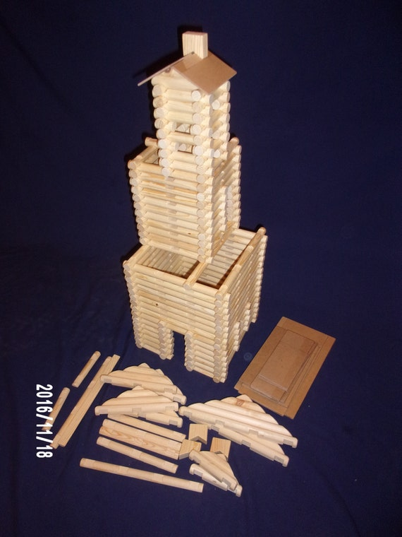 Lincoln Logs, handmade, 240 pieces, in sturdy clear plastic tub