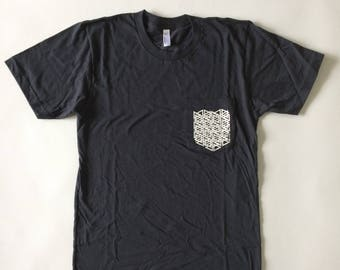 Badge Tee - Screen Print on American Apparel Pocket Tee