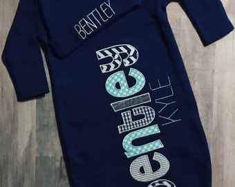 5cd63a6ad7a3 Personalized Navy Baby Gown and Hat. Grey