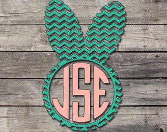 Chevron Easter Bunny Monogram Decal | Easter Decal | Bunny Decal | Monogram Decal | Laptop - Car- Yeti - Phone Decal