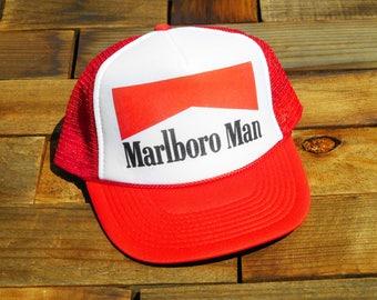 246bb300b0e Vintage Marlboro Man Cigarettes Mesh Snapback Hat