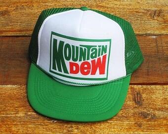 Vintage Mountain Dew Mesh Adjustable Snapback Hat 01ffb2bbff7