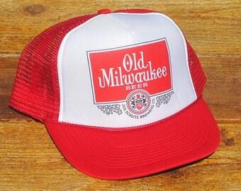 28fe5f50138 Vintage Old Milwaukee Beer Mesh Trucker Hat