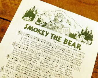 Vintage Original Smokey The Bear Song Sheet Conservation Pledge -ALMOST GONE-