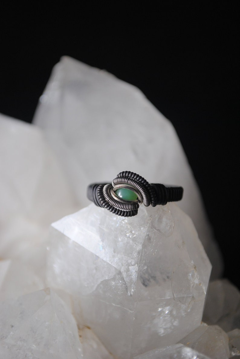 Chrysoprase Wire Wrapped Ring