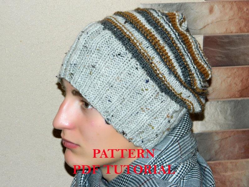 1e13f48cd86 Slouchy mens beanie PATTERN man knitted hat PDF Tutorial
